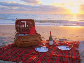 Picnic on beach at Palm Island Resort.
