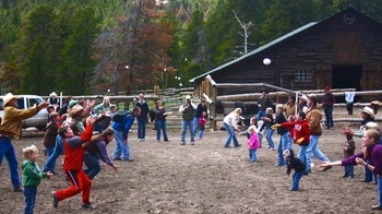 Egg toss at Family Camp at Wind River Ranch
