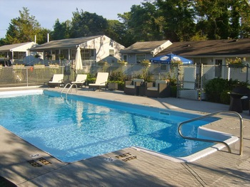 Outdoor pool at The Drake Inn Hampton Bays.
