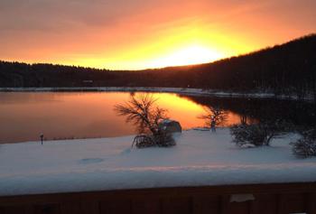 Sunset at The Woods At Bear Creek Glamping Resort.