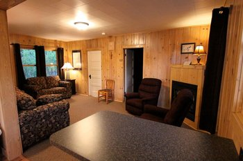 Cabin interior at Eagles Nest Resort.