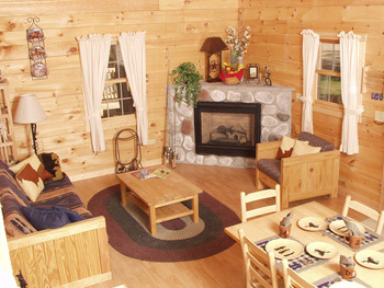 Log cabin interior at Double JJ Resort.