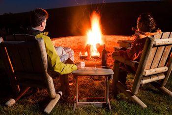 Relaxing by the fire at Darien Lake Resort.