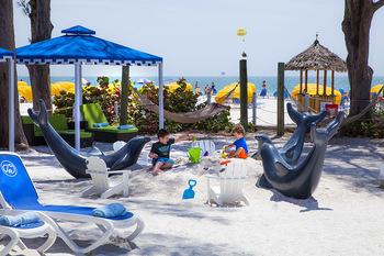 Kid's beach area at Guy Harvey Outpost Resort.