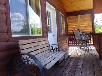 Cabin deck at Glaciers' Mountain Resort.