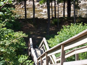 Stairway to the Pemigewasset River at The Lodge at Lincoln Station.