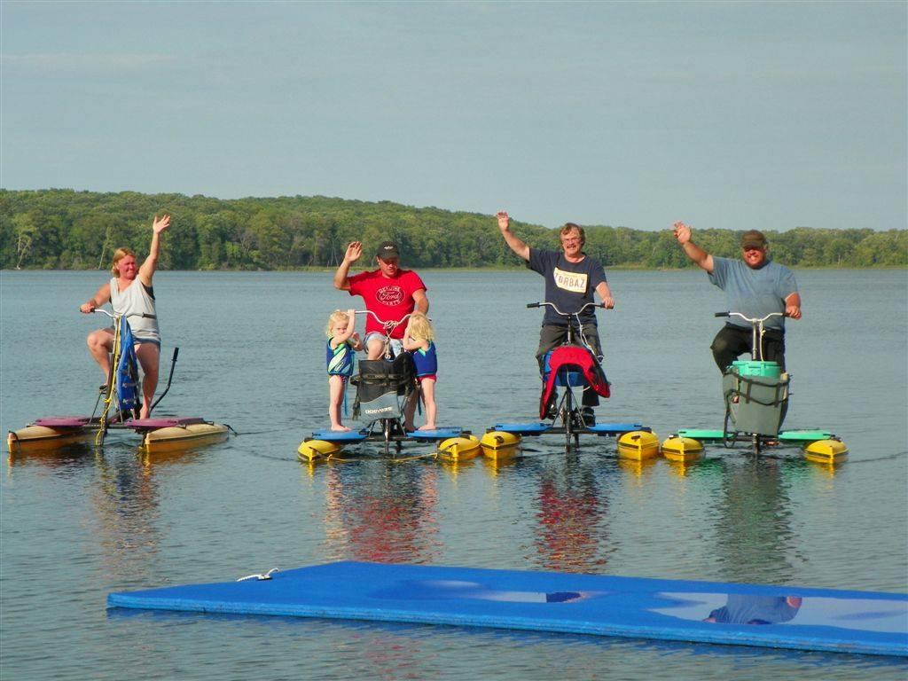 Paddle bikes at Five Lakes Resort.