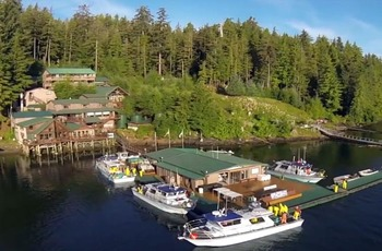 Aerial view of portsman's Cove Lodge.