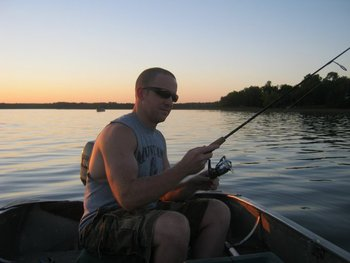 Fishing at sunset at Cedarwild Resort.
