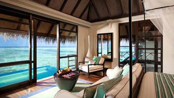Guest room at Four Seasons Resort - Maldives at Kuda Huraa.