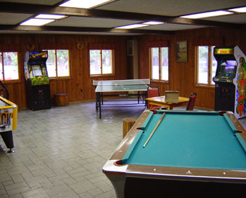 Game room at Nelson's Resort.