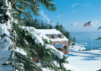 Winter view of Lutsen Resort on Lake Superior.
