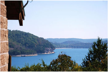 Lake view at Whispering Hills Cabins.