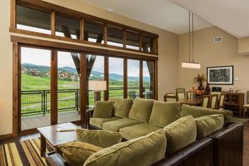 Rental living room at Trailhead Lodge.