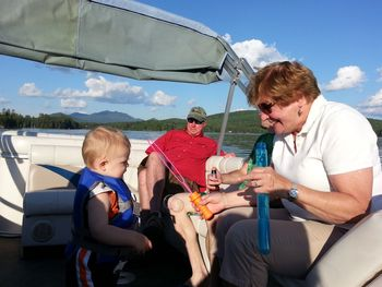 Family pontoon ride at Ampersand Bay Resort & Boat Club.