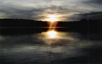 Sunset at Evergreen Lodge.
