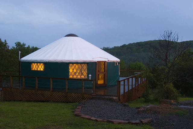 Yurt exterior at Stone Wind Retreat.