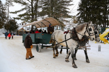 Horse sleigh rides at Bayview Wildwood Resort.