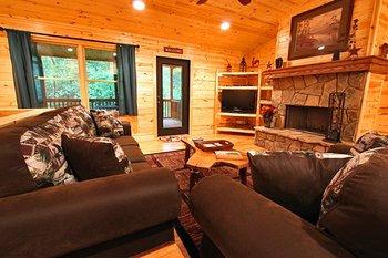 Cabin living room at Sautee Resorts.