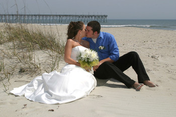 Wedding on the beach at Ocean Isle Inn.
