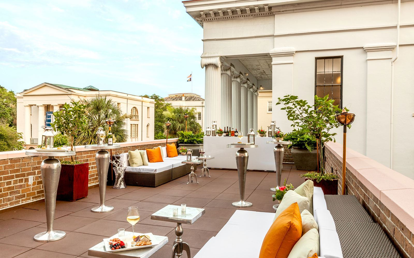 Outdoor Lounge Dining at The Mills House Wyndham Grand Hotel