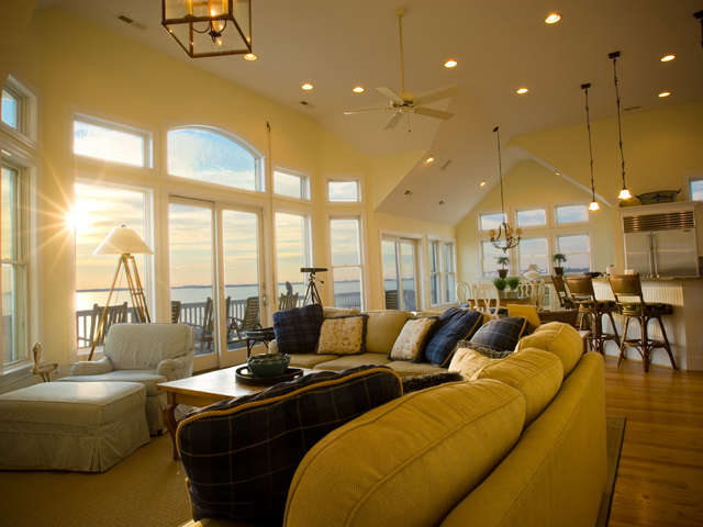 Rental living room at Pirates Cove Vacation Rentals.