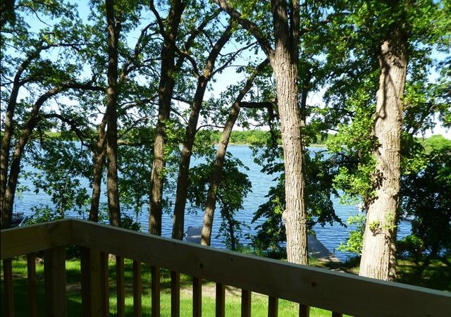 Cabin deck view at Swan Lake Resort.