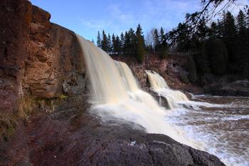 Scenic waterfall at Superior Shores Resort.