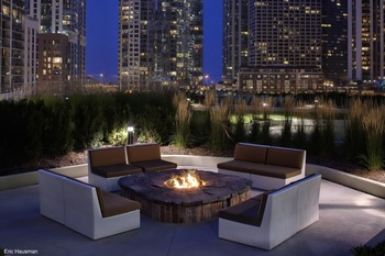 Vacation rental fire pit at Chicago Property Concierge.