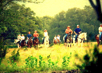 Group horseback riding at Rancho Cortez.