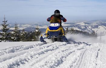 Snowmobiling at EagleRidge Lodge.