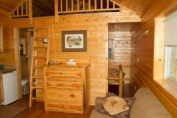 Cabin interior at Izaak Walton Inn.