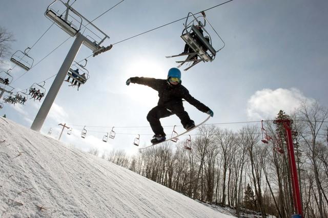 Snowboarding at Ogopogo Resort.