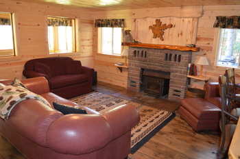 Cabin living room at Backroads Inn and Cabins.