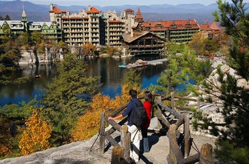View of resort at Mohonk Mountain House.