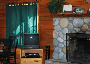 Fireplace View at Whispering Hills Cabins