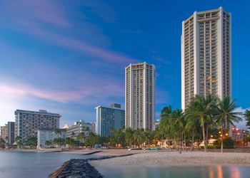 View from beach of property at Hyatt Regency Waikiki Resort & Spa.