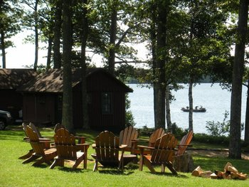 Relaxing by the lake at Pitlik's Sand Beach Resort.