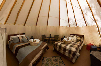 Tipi interior at The Wilderness Way Adventure Resort.