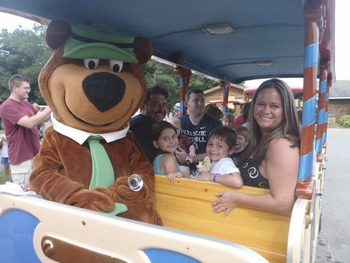 Bus ride at Yogi Bear's Jellystone Park Warrens.