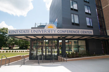Conference center exterior at Kent State University Hotel.