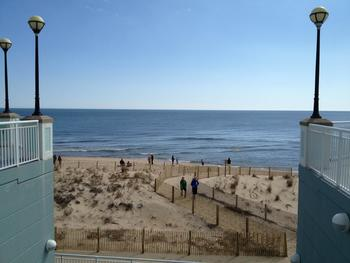 The beach at Hilton Suites Ocean City Oceanfront.