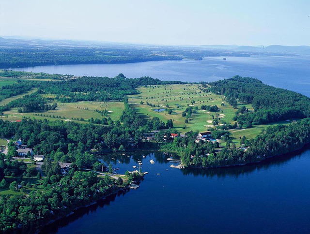 Aerial view of Basin Harbor Club.