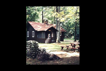 Cabin exterior at Loon Haven Resort.