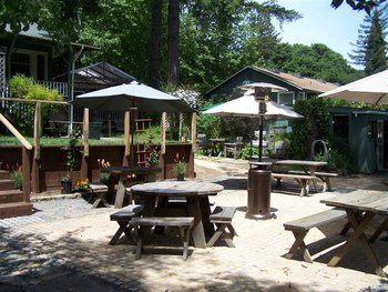 Picnic tables at Rio Villa Beach Resort.