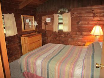 Cabin bedroom at Cold Spring Lodge.