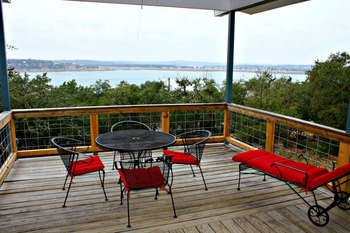 Rental deck view at Upstairs SkyRun Vacation Rentals - Texas Hill Country.