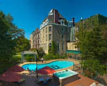 Exterior view with pool at The 1886 Crescent Hotel & Spa.