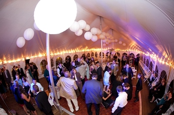 Great view of a reception getting into the night time dance and party mode at Yarrow Golf & Conference Resort.