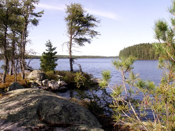 View of the lake at Lodge of Whispering Pines.